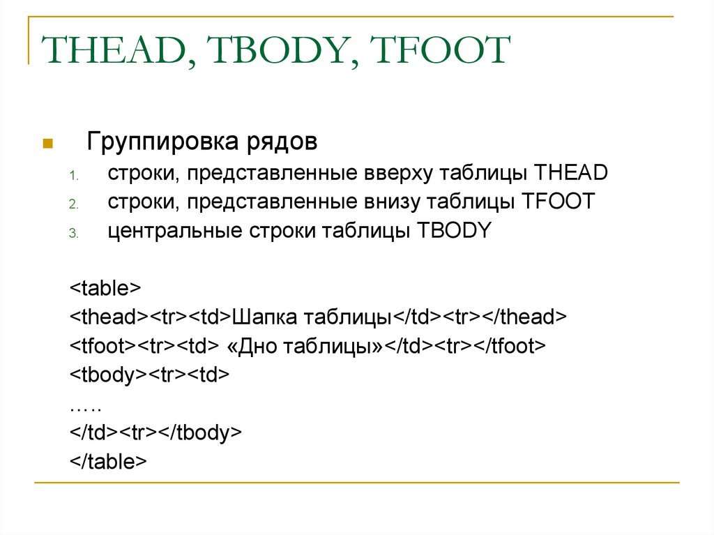 THEAD, TBODY, TFOOT