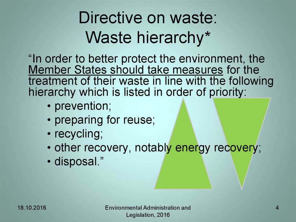 Directive on waste: Waste hierarchy*
