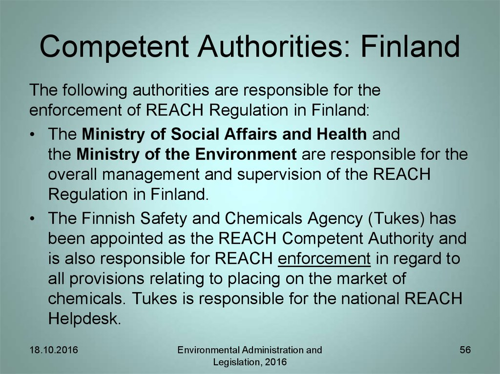 Competent Authorities: Finland