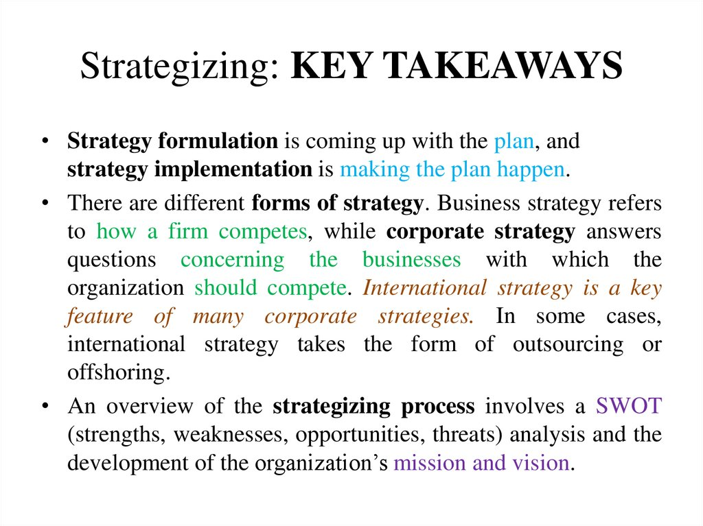 Strategizing: KEY TAKEAWAYS