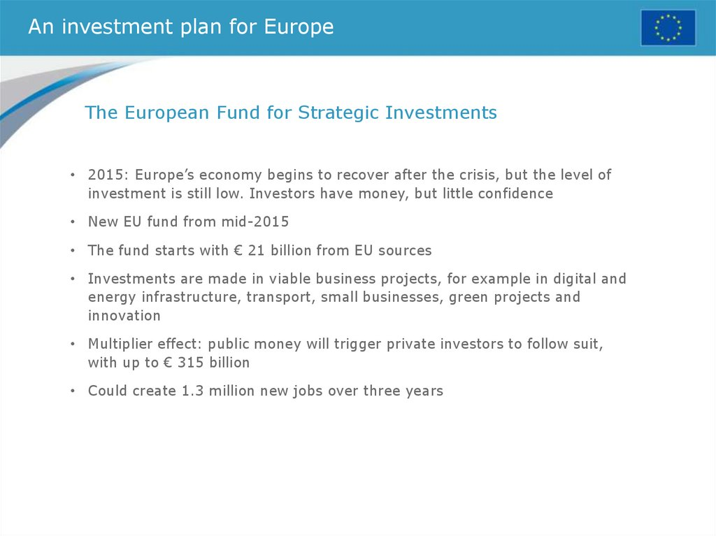 An investment plan for Europe