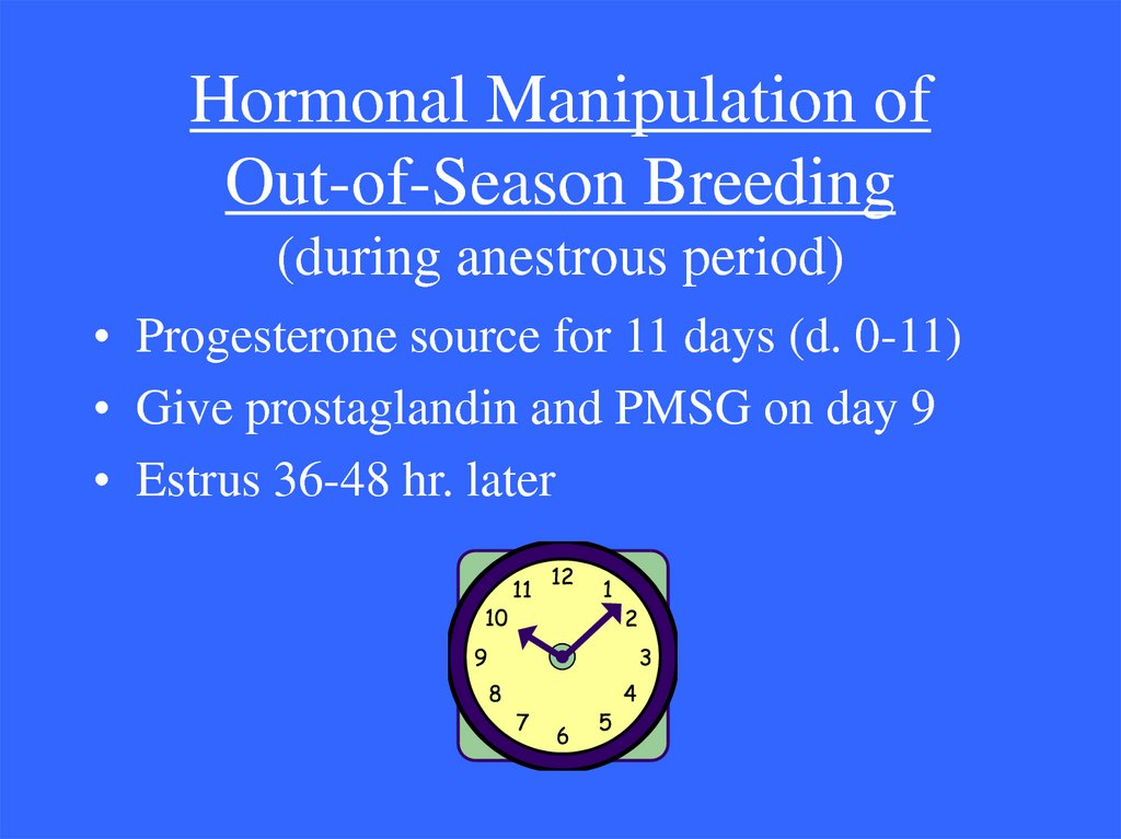Hormonal Manipulation of Out-of-Season Breeding (during anestrous period)