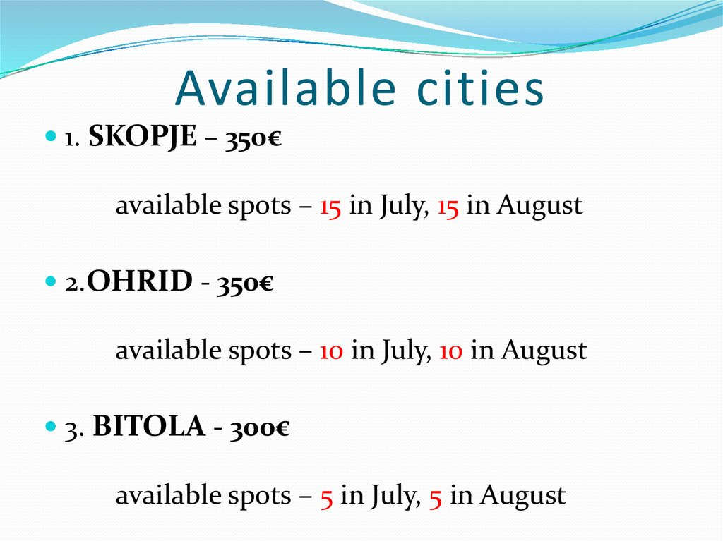 Available cities