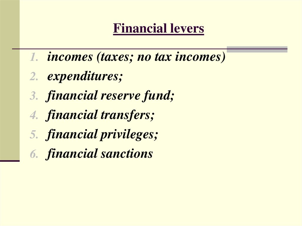Financial levers