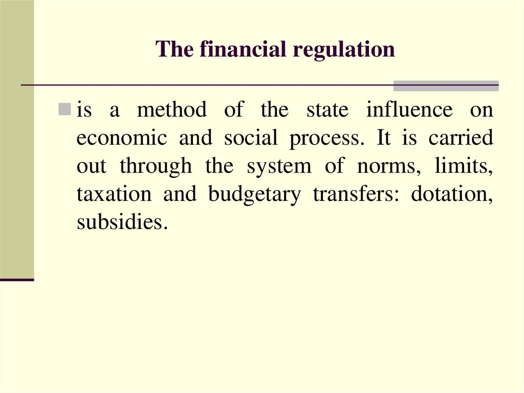 The financial regulation