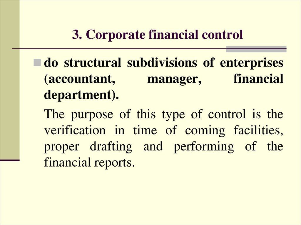 3. Corporate financial control