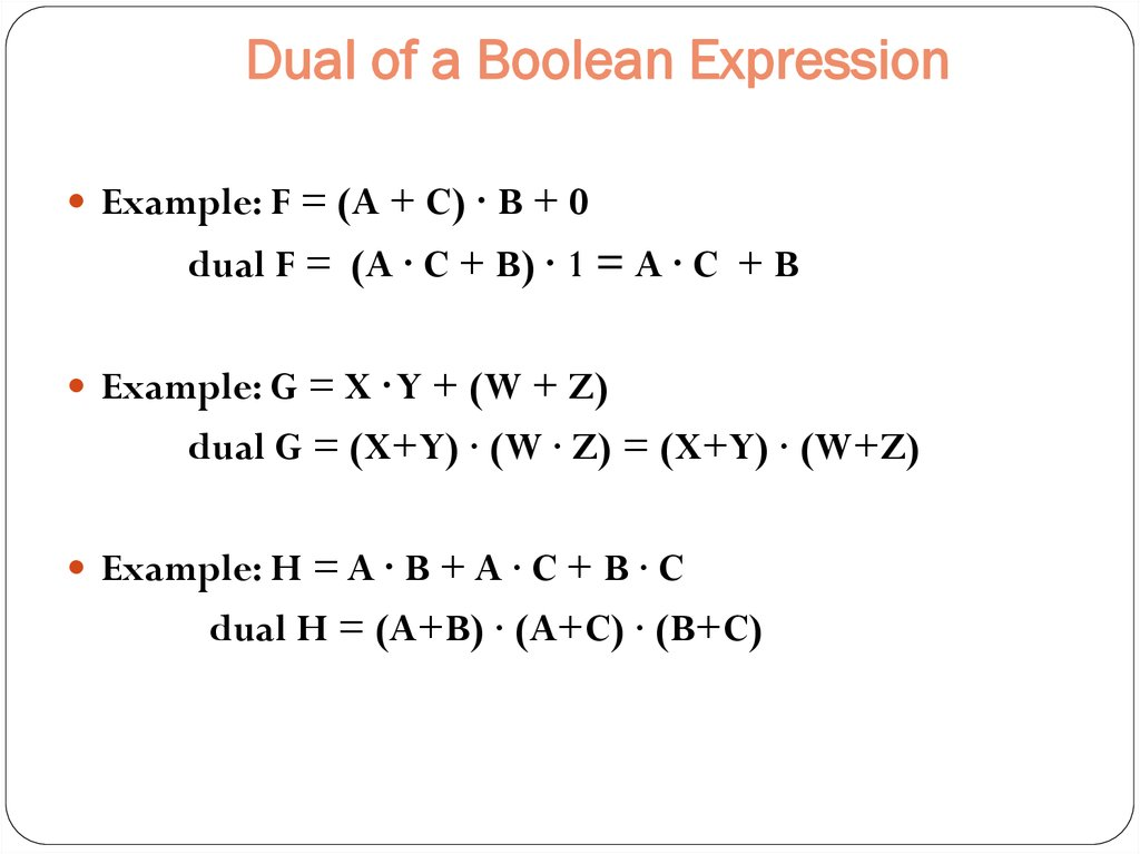 Dual of a Boolean Expression