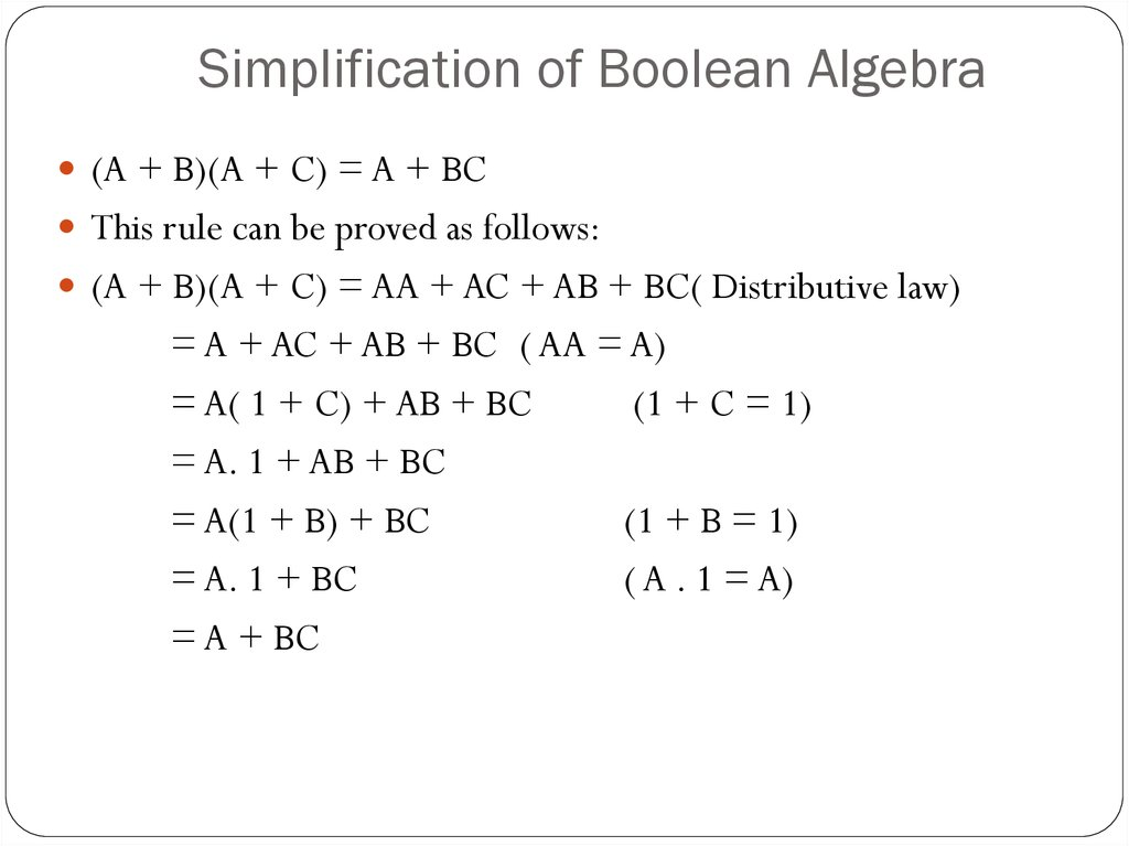 Simplification of Boolean Algebra