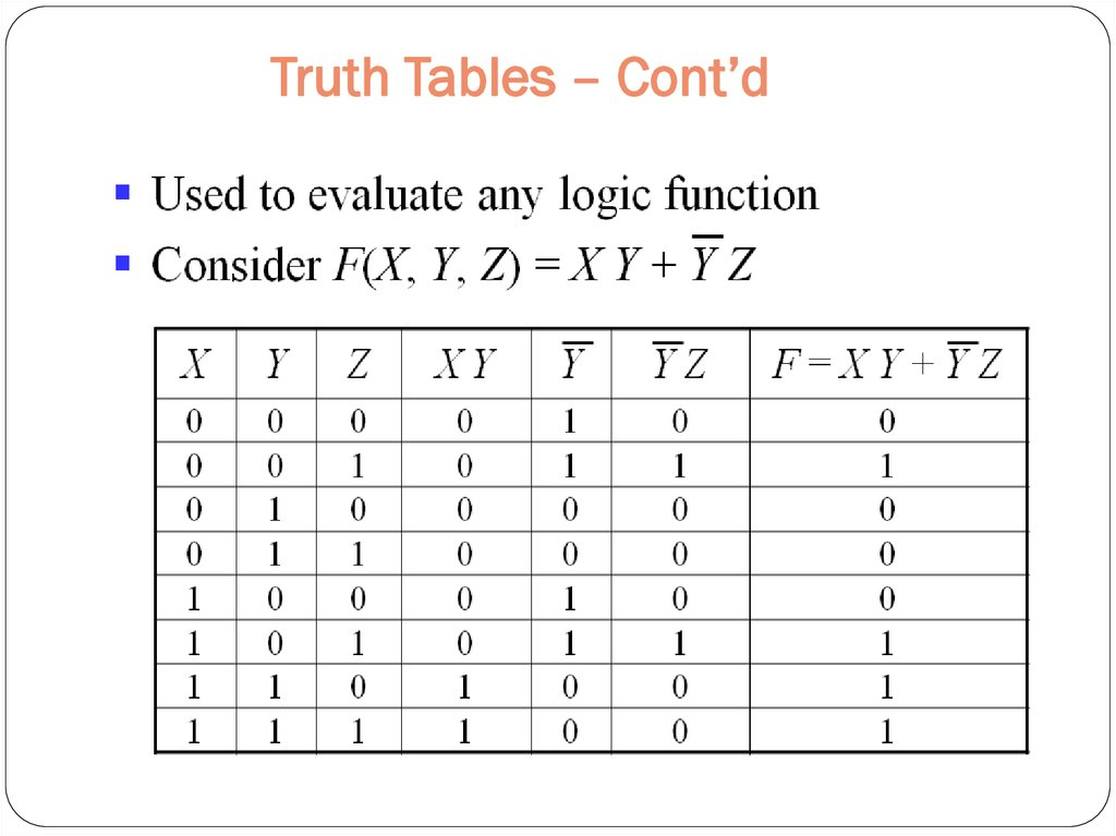 Truth Tables – Cont'd