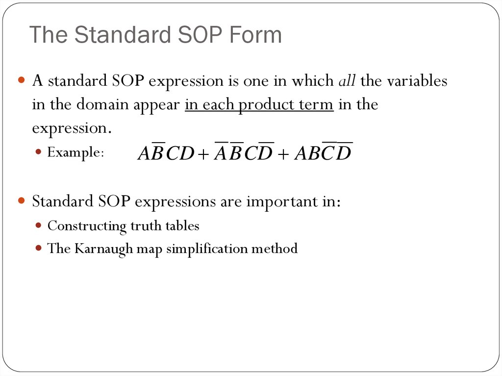 The Standard SOP Form