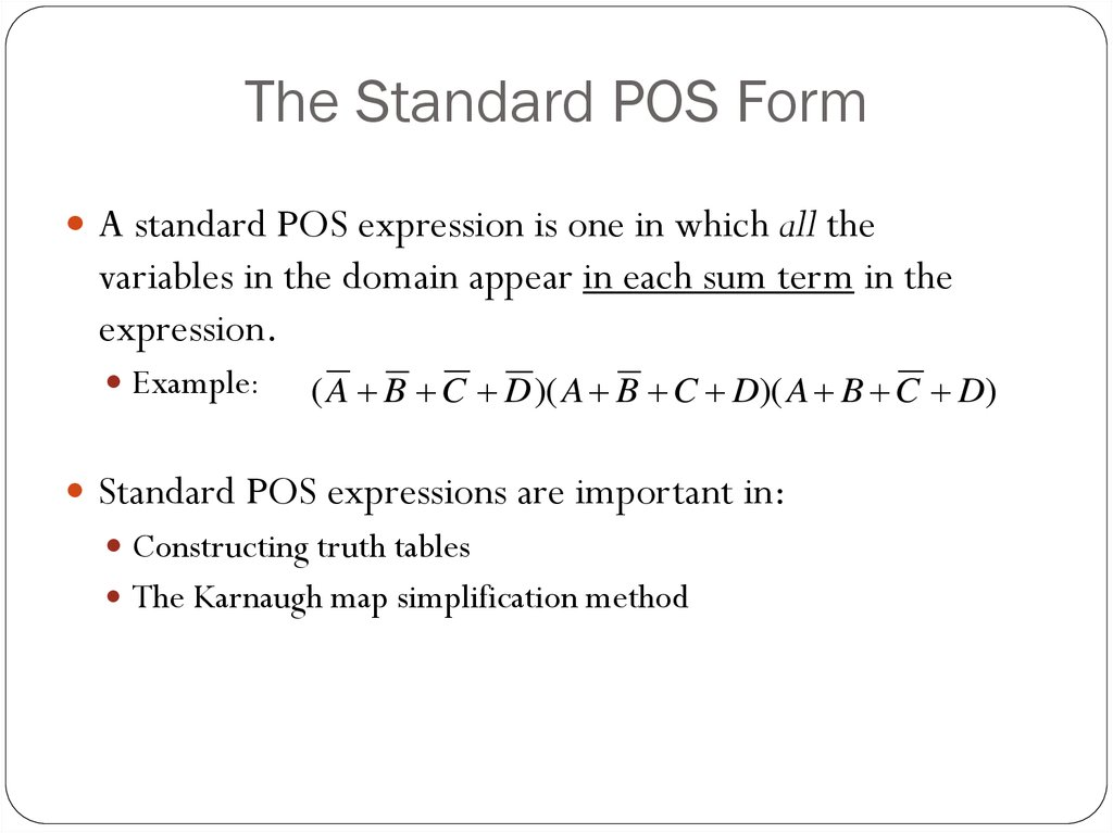 The Standard POS Form