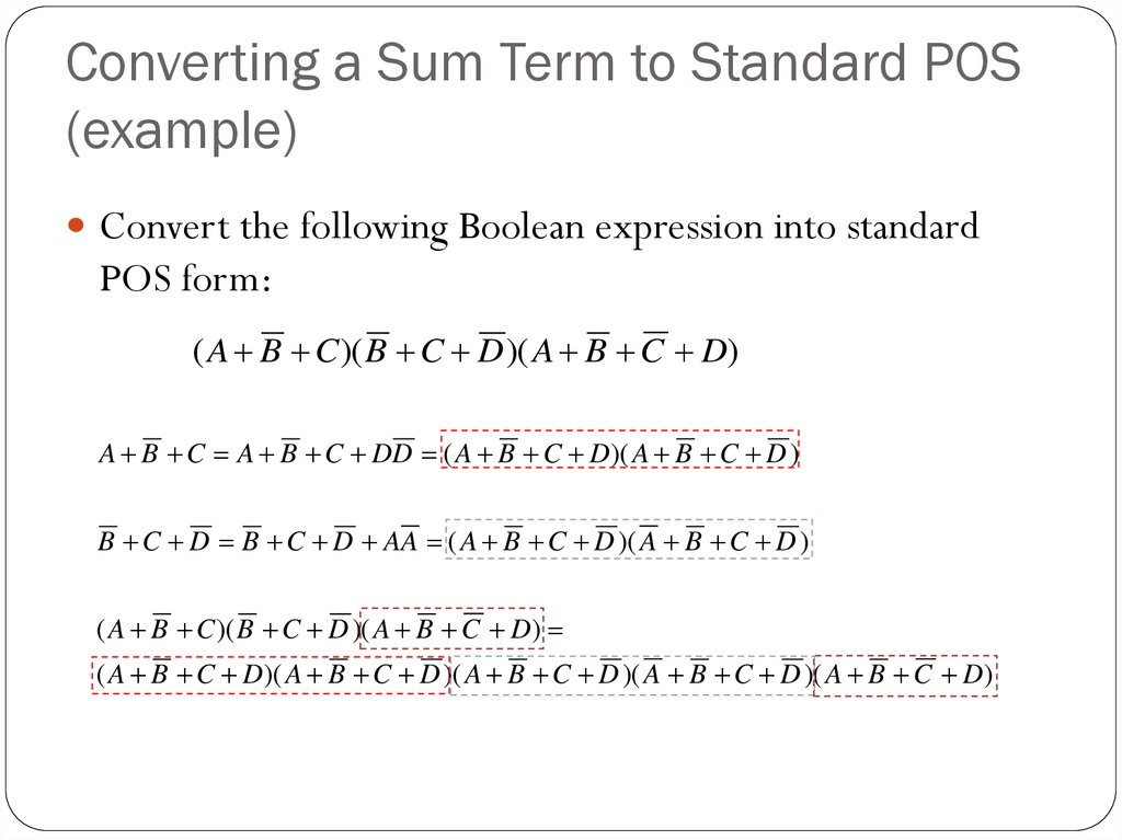 Converting a Sum Term to Standard POS (example)