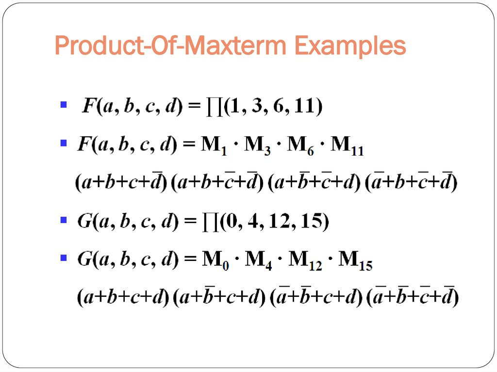 Product-Of-Maxterm Examples