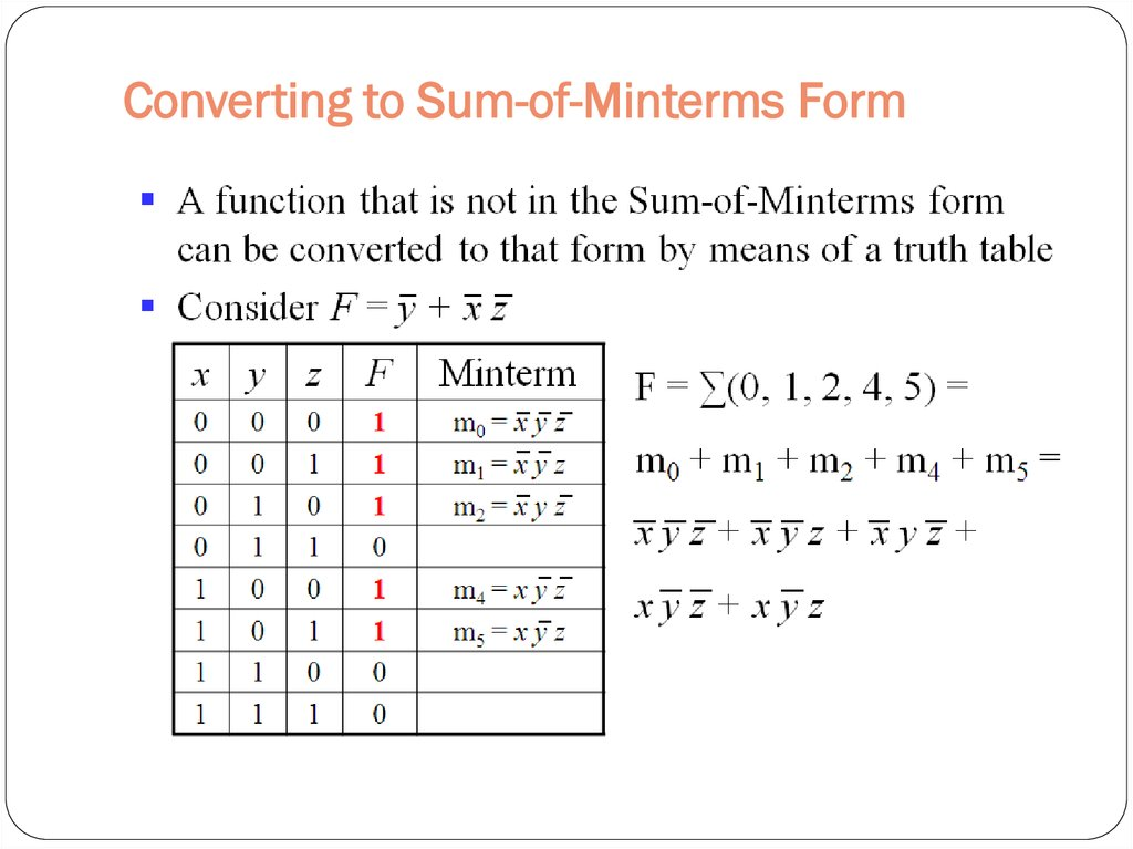Converting to Sum-of-Minterms Form