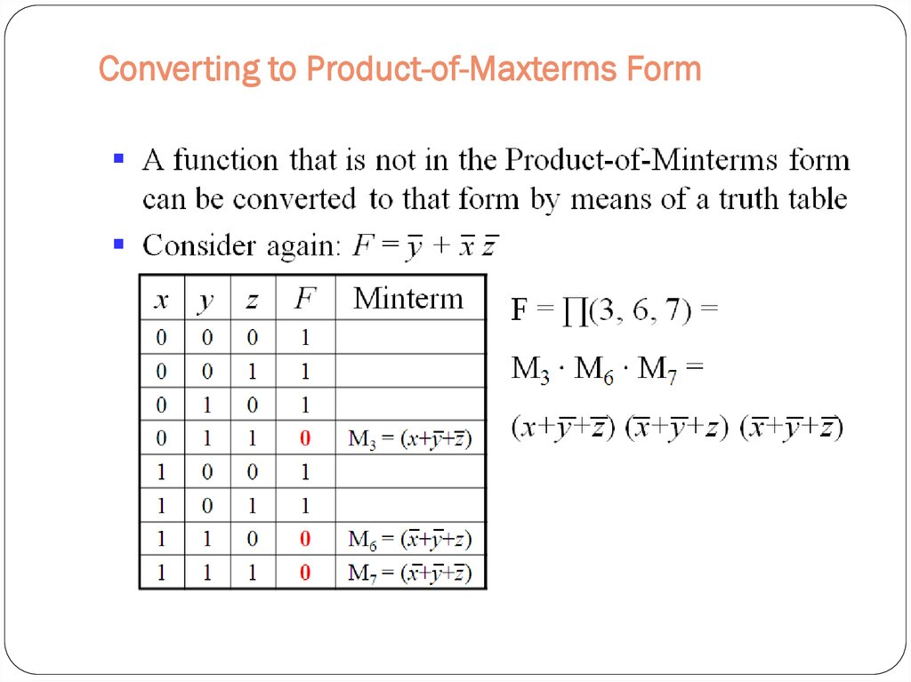 Converting to Product-of-Maxterms Form