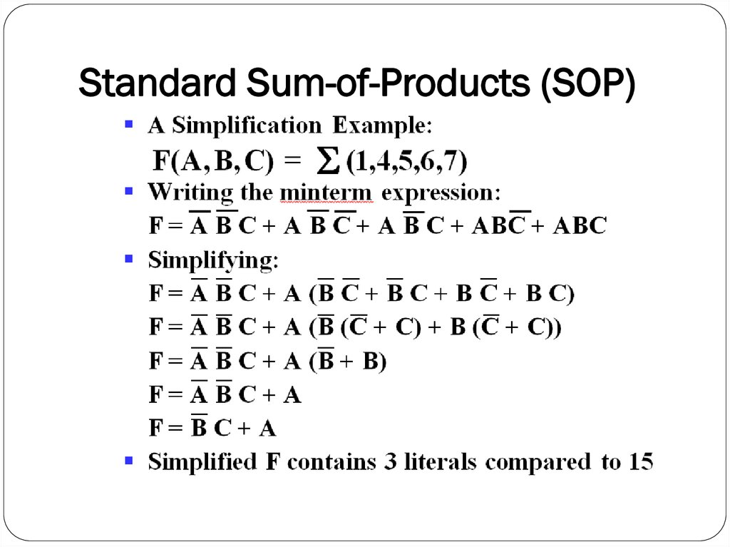 Standard Sum-of-Products (SOP)