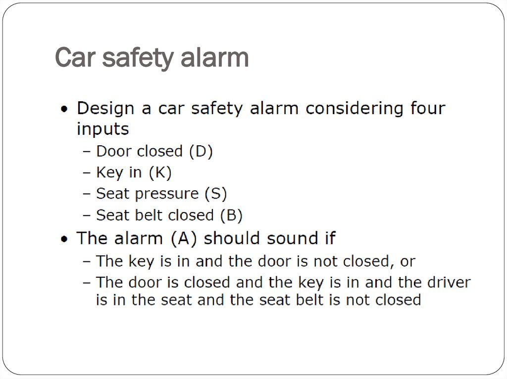 Car safety alarm