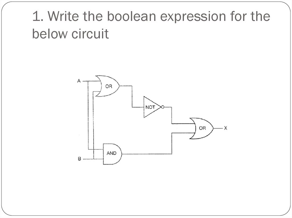 1. Write the boolean expression for the below circuit