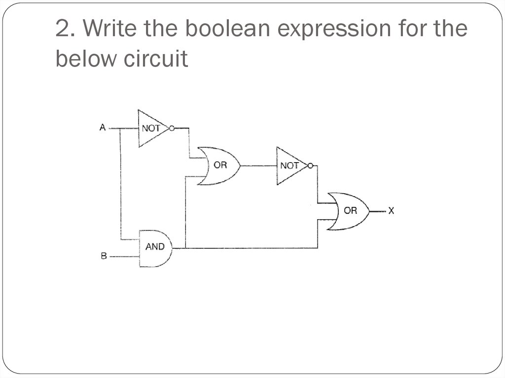 2. Write the boolean expression for the below circuit