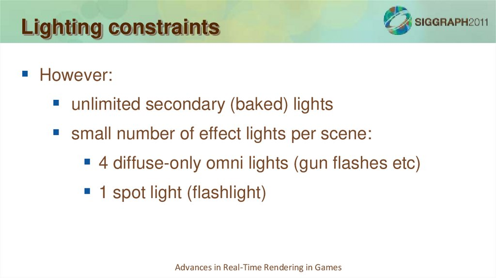 Lighting constraints