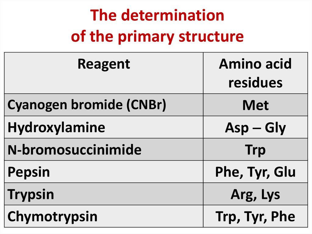 The determination of the primary structure