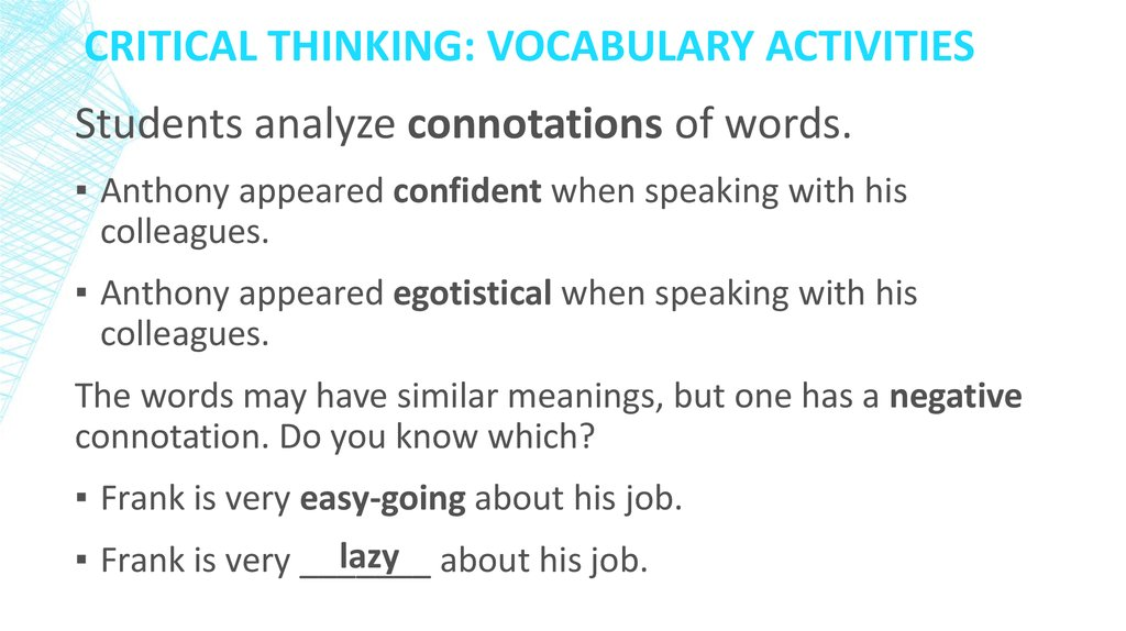 Critical Thinking: Vocabulary activities