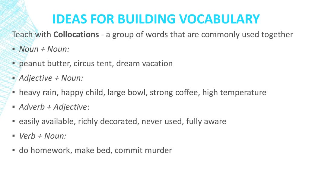 Ideas for Building vocabulary