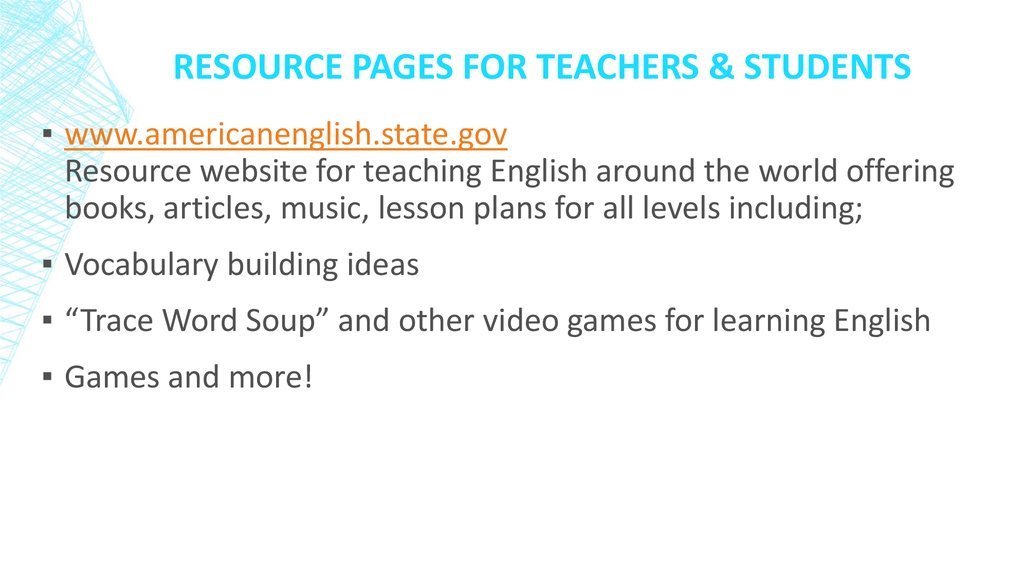 Resource pages for Teachers & Students