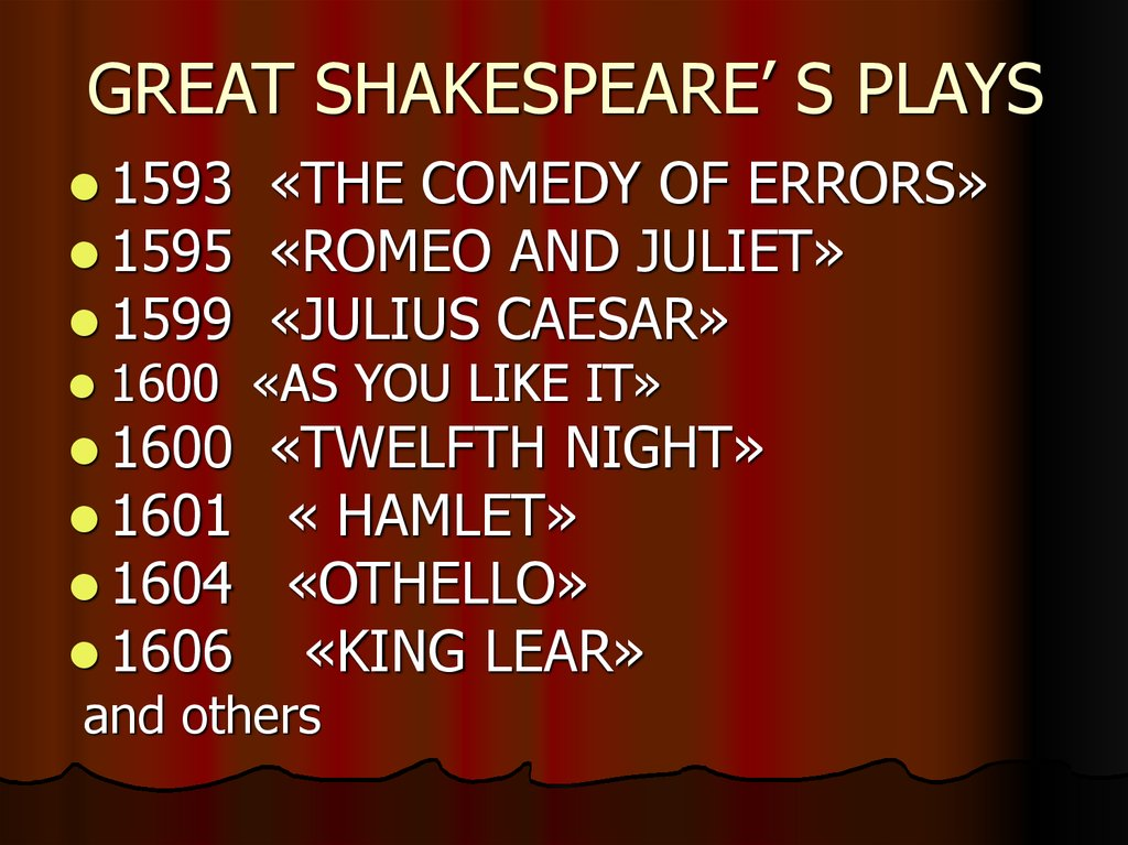GREAT SHAKESPEARE' S PLAYS