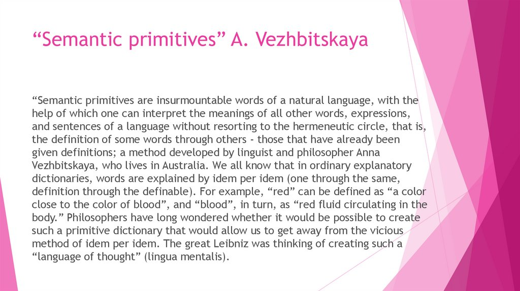 """Semantic primitives"" A. Vezhbitskaya"