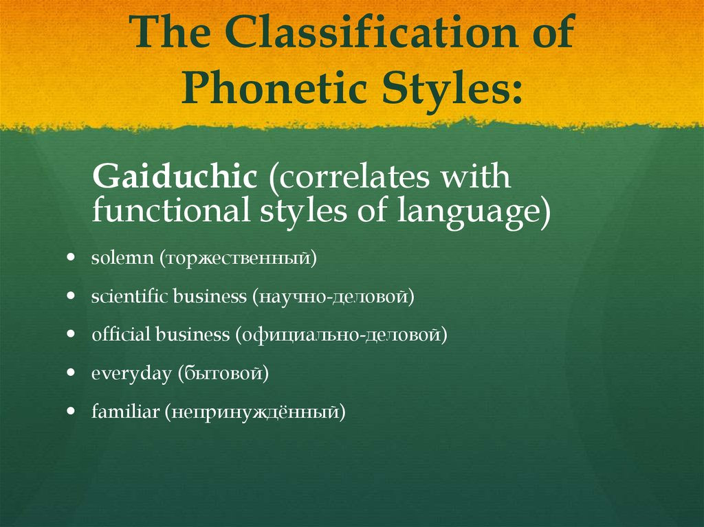 The Classification of Phonetic Styles: