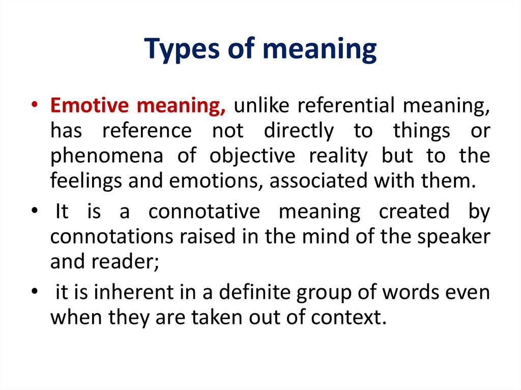 Types of meaning