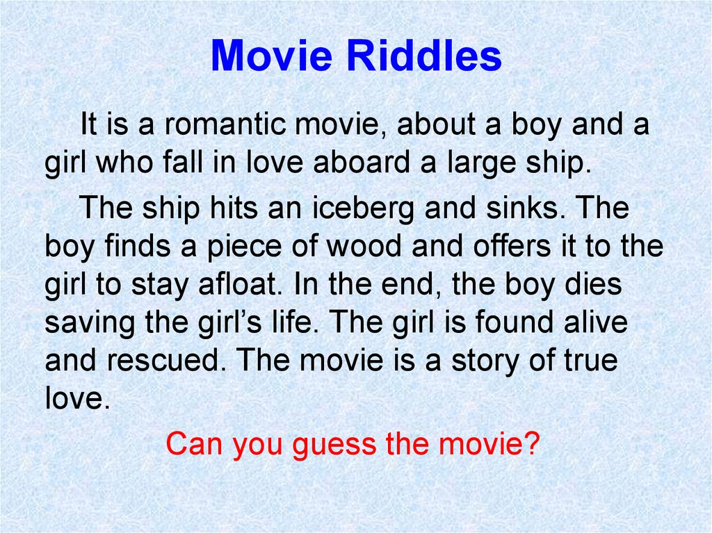 Movie Riddles