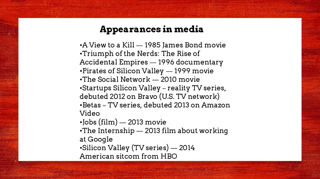 Appearances in media