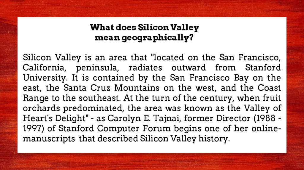 What does Silicon Valley mean geographically?