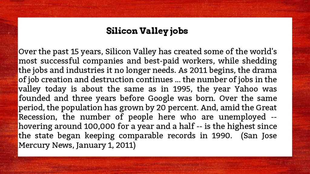 Silicon Valley jobs