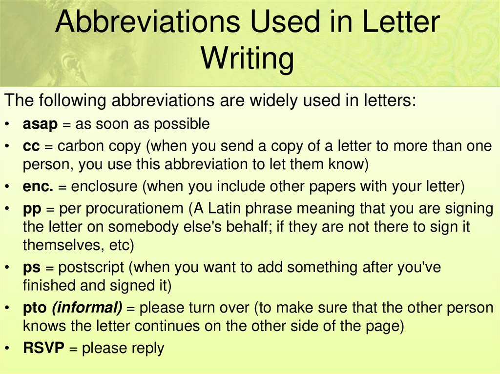 Abbreviations Used in Letter Writing