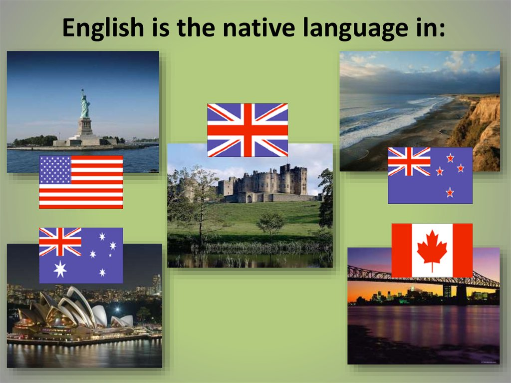 English is the native language in: