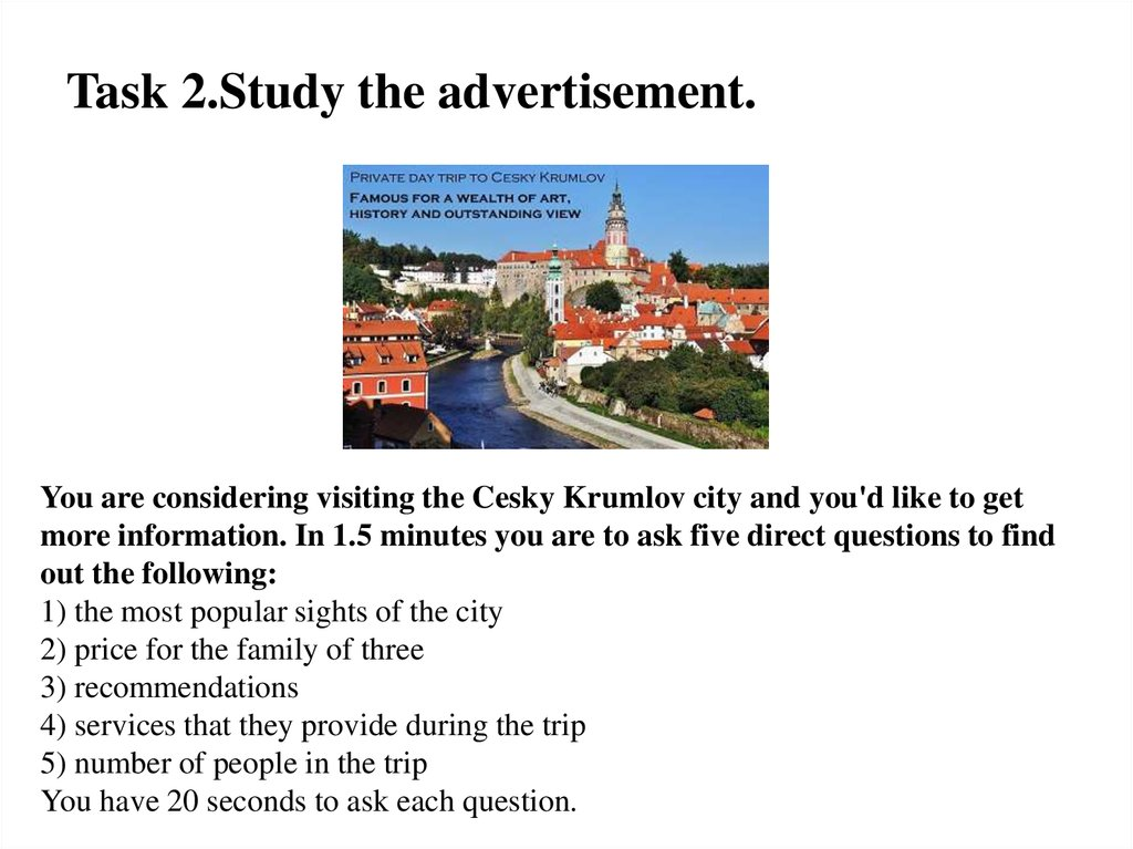 Task 2.Study the advertisement.