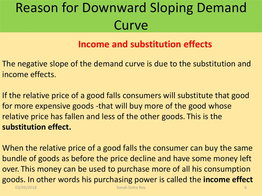 Reason for Downward Sloping Demand Curve