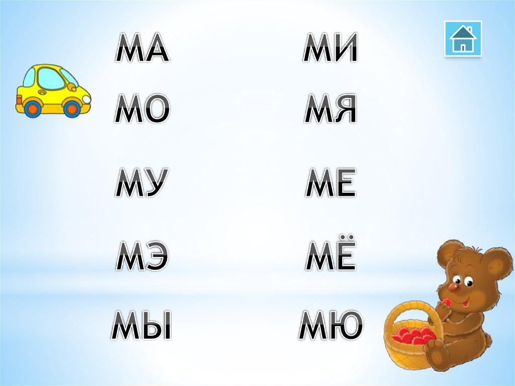 Слоги для малышей в картинках