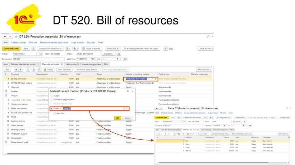 DT 520. Bill of resources