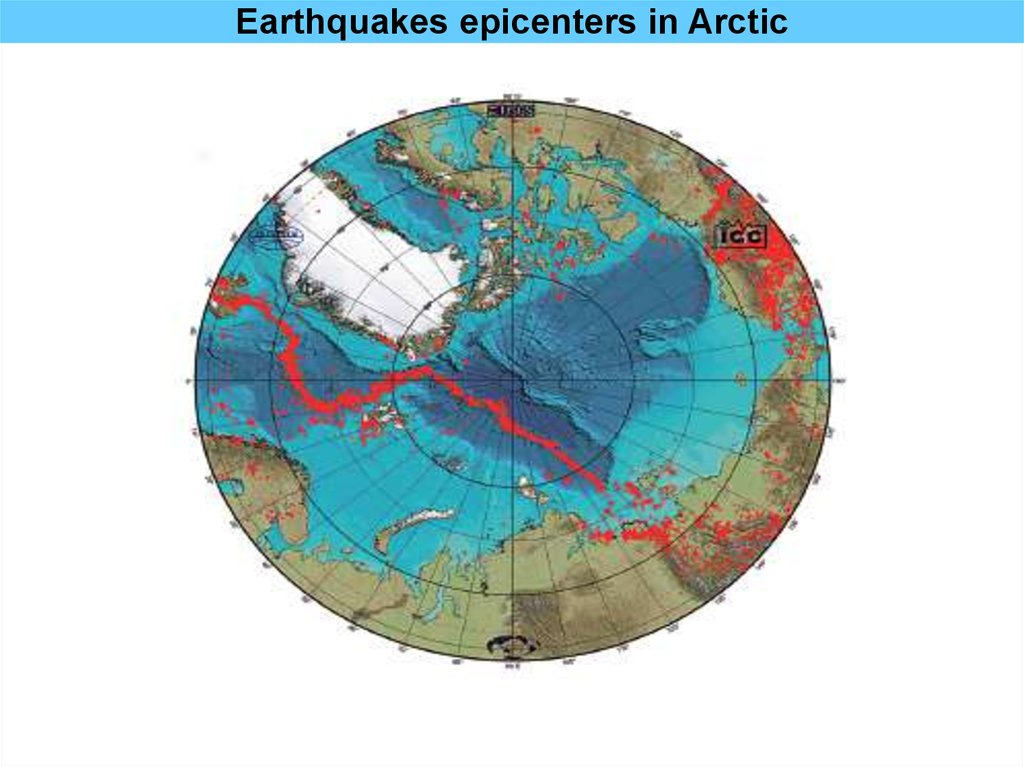 Earthquakes epicenters in Arctic