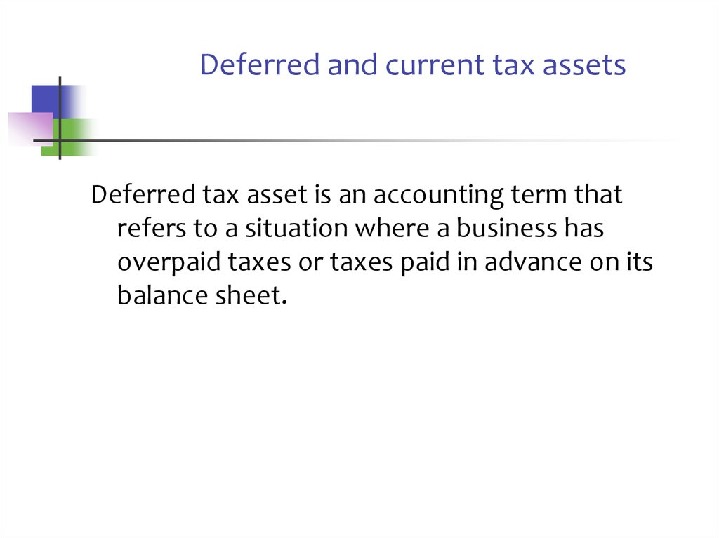 Deferred and current tax assets