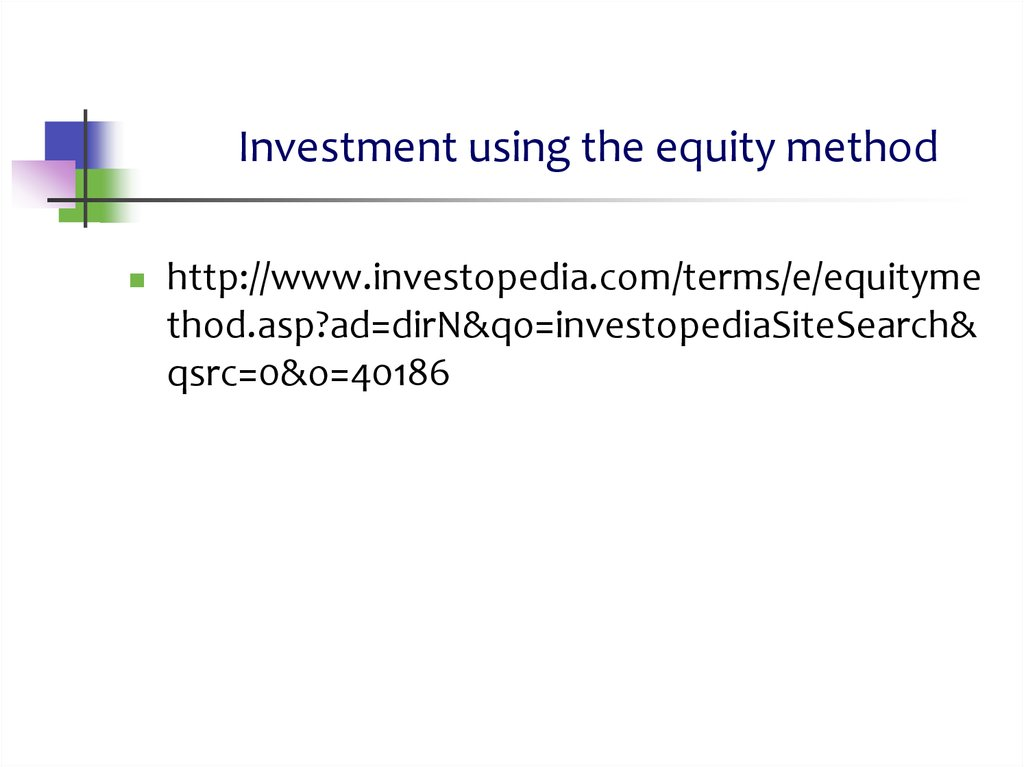 Investment using the equity method