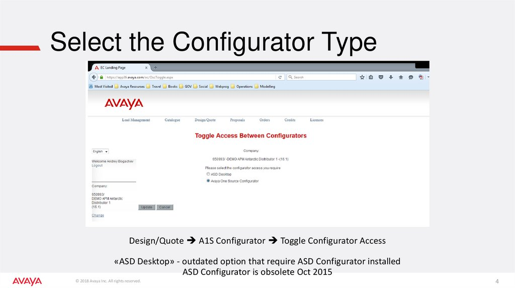 Select the Configurator Type