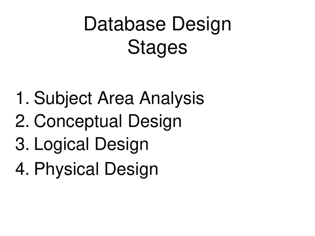 Database Design Stages