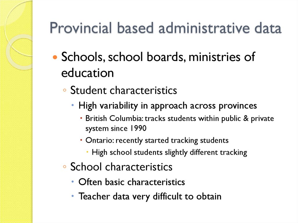 Provincial based administrative data