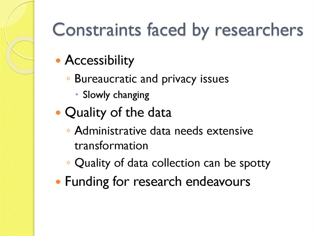 Constraints faced by researchers
