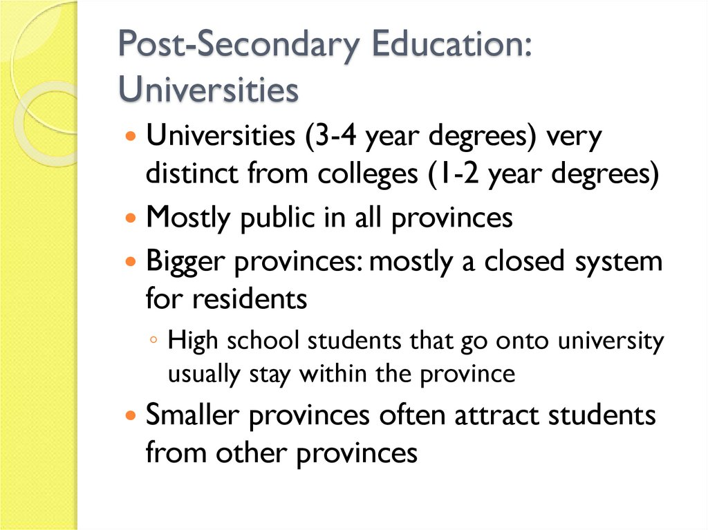 Post-Secondary Education: Universities